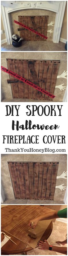 Click through & PIN IT to read later & Follow + Subscribe!  DIY Spooky Halloween Fireplace Cover, DIY, Spooky, Halloween, DIY Halloween Decorations, Spooky, Decorate, Craft, Decorations, Decor, Cheap, Easy, Scary, For Inside, Creepy, Party