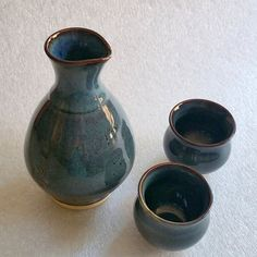 Blue Sake Set - One Bottle and Two Cups - Whiskey Flask and Shot Glasses - Wheel Thrown Pottery