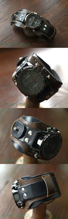 Leather Cuffs, Leather Men, Cool Watches, Watches For Men, Steampunk Pocket Watch, Bracelet Cuir, Leather Projects, Leather Watch Bands, Leather Working