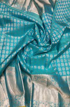Discover thousands of images about Blue Handloom Kanjeevaram Pure Silk Saree saree Indian Bridal Sarees, Wedding Silk Saree, Indian Silk Sarees, Pure Silk Sarees, Kanchipuram Saree Wedding, Kerala Saree, Kanjivaram Sarees Silk, Blue Silk Saree, Ikkat Saree