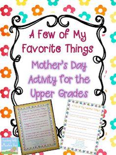 Mother's Day Freebie for upper grades & Teacher Appreciation!