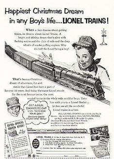 Great fun with toy trains especially at Christmas...this is a vintage advertisement for a Lionel Train Set! Santa brought me one Christmas of 1956 or 1957. Played many hours with it! #lioneltrainsets