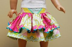 cute skirt for american girl doll (free pattern to sew)
