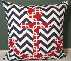 Anchors away ZigZag Slub gotcha Blue/White red pillow by Alethias, $53.00