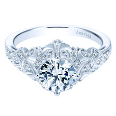 Voted #1 most preferred fine jewelry brand. Vintage Platinum Round Straight Diamond Engagement Ring