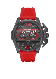 Diesel  Mens Diesel Ironside Red Silicone Chronograph Watch