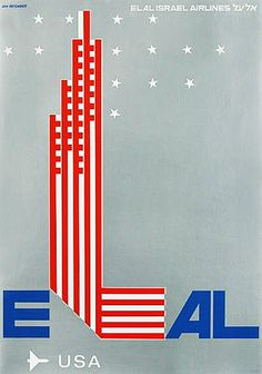 ELAL Israel Airlines # USA with ELAL # fly LY # Poster, Designed by Dan Reisinger, c.1970