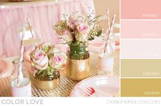 For the girls' bathroom. I LOVE this pink gold color palette! Gold Color Palettes, Gold Color Scheme, Gold Palette, Colour Schemes, Gold Colour, Pink Color, Blogger Templates, Gold Centerpieces, Estilo Shabby Chic