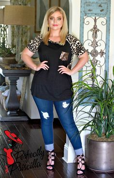 With Every Breath Leopard Print Top - Black Fashion Over 40, Curvy Fashion, Laid Back Style, My Style, Jeans With Heels, Leopard Print Top, Refashion, Black Tops, Cute Outfits