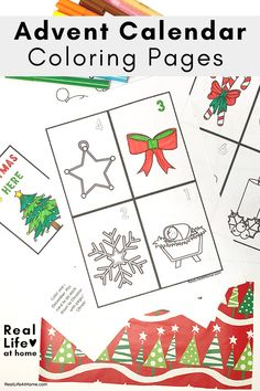 Looking for a coloring activity to countdown to Christmas? Here is a 25 page Advent Calendar Coloring Pages Set to use as a home decoration. Advent Calendar Activities, Diy Advent Calendar, Craft Activities For Kids, Christmas Activities, Kid Crafts, Christmas Gifts For Kids, Christmas Countdown, Christmas Crafts, Jesus Coloring Pages