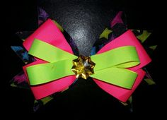 Pink, green, stars hairbow