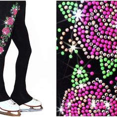 "Ice Skating Pants with ""Roses Swirls"" Design https://figureskatingstore.com/brands/Ice-Fire.html Ice skating pants featuring neon pink and green rhinestuds and sparkly rhinestones roses. This design swirls around the right leg and shines with over 1000 stones. Available in Polartec fleece and Supplex Microfiber (non fleece)fabric. #figureskatingstore #figureskating #sport #iceskating #skating #figureskater #iceskate #фигурноекатание #icering #ice #icefire #icedance"