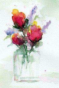 cool watercolor art - love to try..have an artists eye and heart but not the hand