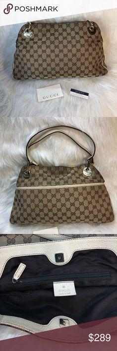b1d4ce01e21c Authentic Vintage Gucci GG canvas eclipse hand bag Authentic Vintage Gucci  Eclipse Handbag. Canvas GG
