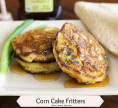 Corn Cake Fritters - These corn cake fritters are a cross between a pancake and a fritter. Instead of deep frying as you would a classic fritter, I shallow fry them in a heavy bottomed cast iron skillet until golden on both sides.