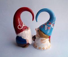 Garden Gnome Couple Wedding Cake Topper. $50.00, via Etsy.
