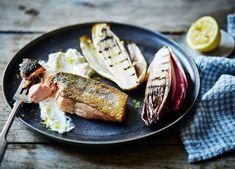 Image: Roast salmon with lemon ricotta and warm chargrilled chicory salad