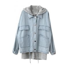 Blue Two Piece In One Hooded Drawstring Single-Breast Denim Coat with... (37 CAD) ❤ liked on Polyvore featuring outerwear