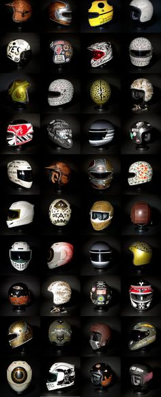 21 helmets show. See See motor coffee Co. cada piloto tem o seu estilo. Motorcycle Equipment, Motorcycle Gear, Motorcycle Accessories, Bobber, Chopper, Helmet Paint, Custom Helmets, Helmet Design, Cool Motorcycles