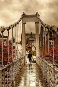 View across the footbridge in Dumfries, Scotland