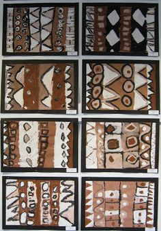Symbols and symbol handouts, pattern and pattern made of patterns, paint white, then brown, then black. tint and shade. African Art Projects, African Art For Kids, African Crafts, South African Art, Arte Elemental, Art Du Monde, Motifs Textiles, 2nd Grade Art, Africa Art