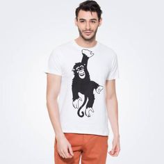 White T-shirt. Half sleeves. Ribbed round neck. Hanging Monkey graphic print at front.  starting Rs.299/- buy here...http://zovi.com/hanging-monkey-white-graphic-t-shirt--11915607901