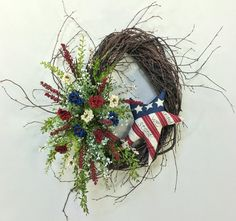 Americana Wreath, Patriotic Wreath, 4th Of July Wreath, Flag Wreath, Red White Blue, Memorial Day, Oval Wreath, USA, Veterans Day, Star
