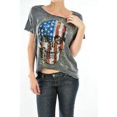 ced9a887d3003d USA Skull Top - Tees   Tanks - Women s Clothing - Frank Pistachio
