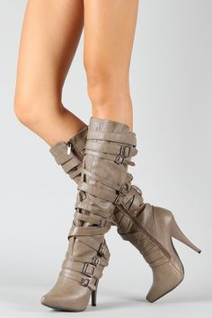 Anne Michelle Chacos-05 Buckle Pointy Toe Knee High Boot  $51.90. WANT THESE!!!!