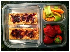 Sunflower butter and all fruit jelly on five Ak-Mak whole-grain crackers, local strawberries, and carrots/celery