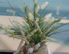 Whelk Shell Coastal Beach Starfish Grass Centerpiece~Seashell Centerpiece~Beach Wedding Centerpiece