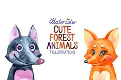 Watercolor cute forest animals Graphics Hello, dear friends! I present to you a series of illustrations with cute forest animals. The kit in by aquarelloaquarelle