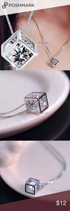 925 Sterling Silver Chain Crystal Necklace 925 Sterling Silver Chain Crystal Rhinestone pendant Necklace Jewelry Necklaces