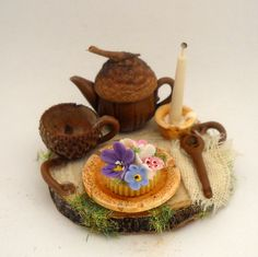 1/12TH scale  rustic fairy tray with tea and cake for one by 64tnt, €25.00