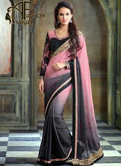 Chiffon Jacquard Saree Black Pink Color.This Mistyrose & Black Jacquard Saree is including the enticing glamorous displaying the feel of cute and graceful.
