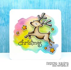 1001 cartes: Lawn Fawn Critters In The Snow & Joy to The Woods Rainbow Christmas Card by Francine Vuilleme.