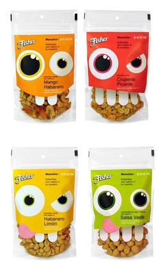 Nutty product packaging: Fisher Hispanic nuts by Uno Branding Cereal Packaging, Chip Packaging, Kids Packaging, Clever Packaging, Fruit Packaging, Food Packaging Design, Packaging Design Inspiration, Brand Packaging, Product Packaging Design