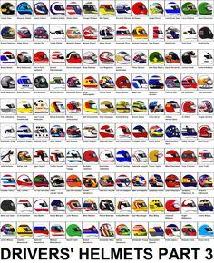 Formula One Grand Prix Drivers' Helmets Part 2 Kart Racing, F1 Racing, Formula 1 Car Racing, F1 Motorsport, Cafe Racer Honda, Racing Helmets, Motorcycle Types, Michael Schumacher, F1 Drivers