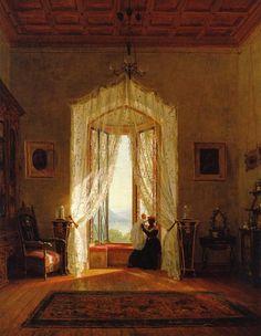 "Thomas Worthington Whittredge, ""A Window House on the Hudson River""  1863, American Hudson River School Painter"