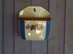 Salt cellar // salt pig // wall mounted by VintageRetroOddities