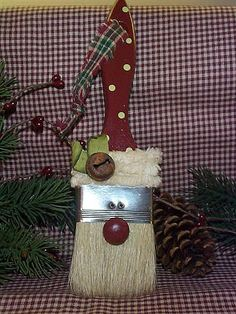 Paintbrush Santa, Country Christmas Ornament brings a touch of rustic Christmas magic, perfect for the holidays and all winter long.  This link takes you to a site where they want to sell you this Santa.  That is fine, but for me, I'd just look this picture over, make a few changes here and there and then proceed to make my own.