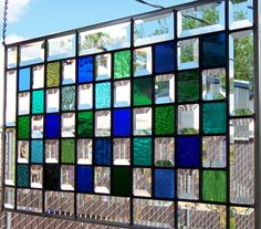 Blues, Greens and Bevels Large Stained Glass Window. $170.00, via Etsy.