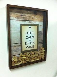 quadro para rolhas - keep calm and drink wine 38x53cm