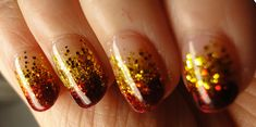 red and gold glitter nail