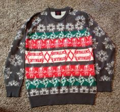 original metallica holiday christmas sweater shirt ugly xl extra large one - Metallica Christmas Songs