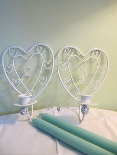 2 White Embellished Hearts Beaded Taper Candle Holders Upcycled - Shabby Chic Taper Candle Holders, Mantle, A Table, Upcycle, Shabby Chic, Hearts, Chandelier, Ceiling Lights, Trending Outfits