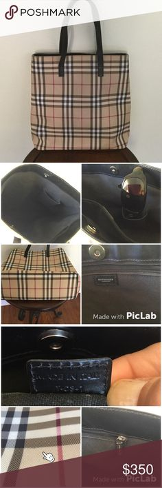 "HP‼️Authentic‼️ Burberry London Tote Vintage Burberry Nova Check Tote. Discontinued print. Large tote measures: 13"" L; 5"" W; 14"" Deep w/ 7.5"" double strap drop. (See pic 4 for authenticity registration #). A few slight marks noted in (pic 3 ) & one very small cut along plaid line (pic 4) but can barely detect it. Noted here for full disclosure/almost missed it! Excellent condition otherwise. *Selling for friend; offers need to be conferred. *No bundle discount *(bundles w/ this item in will…"