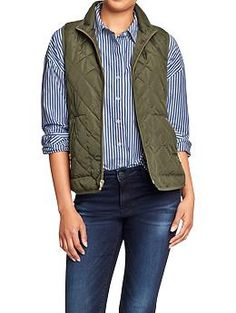 Women's Quilted Zip-Front Vests   Old Navy- 1st Choice Forest Floor, Second choice- Canvas, Third Choice- Fan the flames Need a petite or regular size small Would like monogram on chest (where pocket would go) aHa ... If Forest or flames would like it in cream. For Canvas- your call