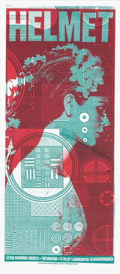 Duotone - teal and red overprint. 'Helmet' overthrows the poster which is effective only because the model's attitude appears apprehensive, shy and reserved. The poster is very noisy with a lot of busy elements occurring all over.