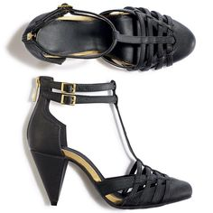 "$29.99 or less - Basket weaving and a 3"" H cone-shaped heel make this leather like sandal truly fashion-forward. Goldtone buckles on ankle straps and back zip for easy on/off. T-strap style creates a sleek line. Cone heel adds height and flair. FEATURES: Back zip, Front basket woven cage. Gold embellishments, 3"" heel height. Size 6-10 (Half sizes, order one size up"